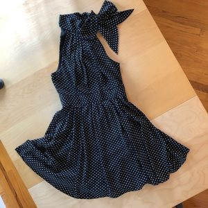 Express polka dot neck-tie dress